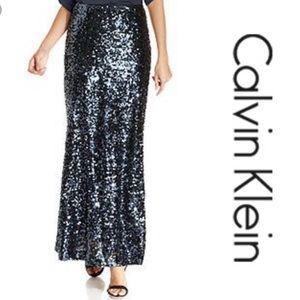 Calvin Klein Deep Sea Sequin Maxi Skirt